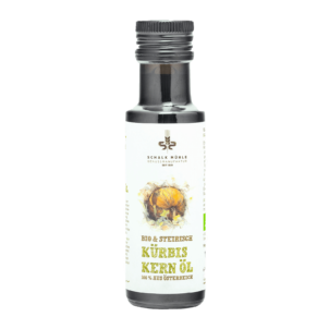 Produktbild von wholyfood: Eine Flasche Kürbiskernöl