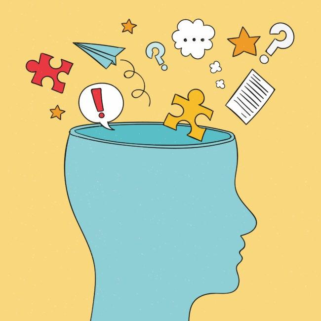 Kopf mit vielen Ideen